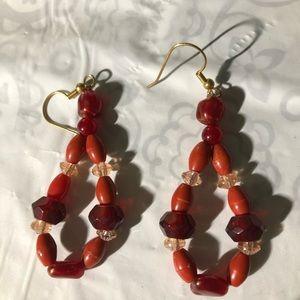 Handmade-red-hoop-earrings